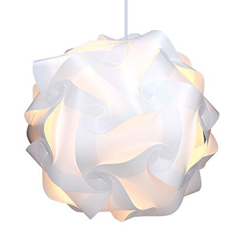 kwmobile DIY Puzzle Lampe XL Lampenschirm - Schirm Teile Set mit Netzkabel Schalter E27 Fassung - Puzzlelampe Stehlampe Deckenleuchte in Weiß