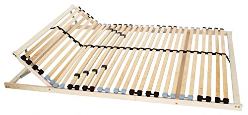 7-Zonen Lattenrost 120 x 200 cm Kopfteil verstellbar, mit Härte-Regulierung, zur Selbstmontage, mit 28 stabilen und flexiblen Federholzleisten, mit Mittelzonenverstellung im Beckenbereich, mit Mittelband