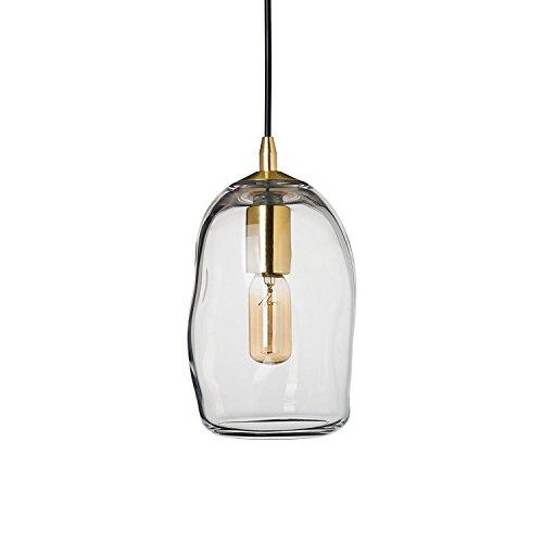 CASAMOTION Mini Pendelleuchte Mundgeblasen Glas Hängelampe, Moderne Hängeleuchte Pendellampe, Transparent Glasschirm, Messing Gebürstet