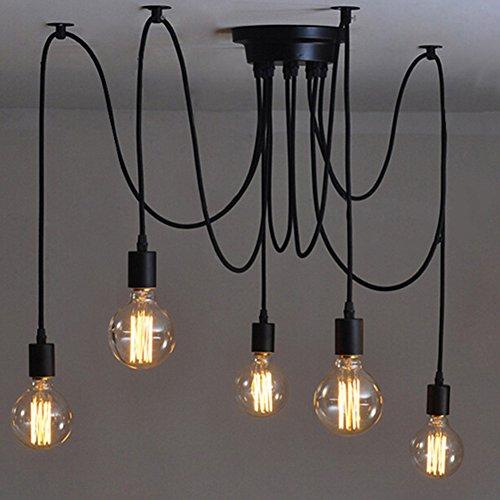 E27 DIY retro Industrie-Stil höhenverstellbar Kronleuchter Pendelleuchten Hängelampe(6-Flammig,1.2M,Glühbirne nicht inbegriffen)