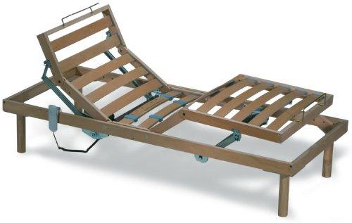 EvergreenWeb Elektrische Holz Lattenrost mit 14 Leisten aus Buche und elektrisch verstellbar H40 cm - 120X190 | Orange
