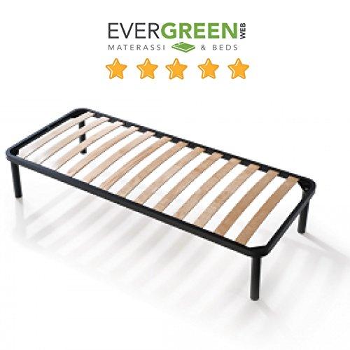 EvergreenWeb Bett Lattenrost aus Holz, orthopädisch, Verstärkt mit Doppelter Stange Mitte und 4Füße Abnehmbar, Rahmen Komplett aus Eisen, Base-eingebaut Ideal für Alle Arten von Betten und Matratzen