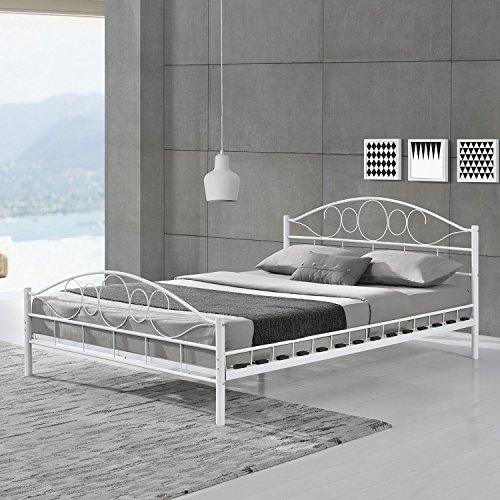 Juskys 28507 Toskana Metallbett, Metall, Holz, weiß, 140 x 200 cm