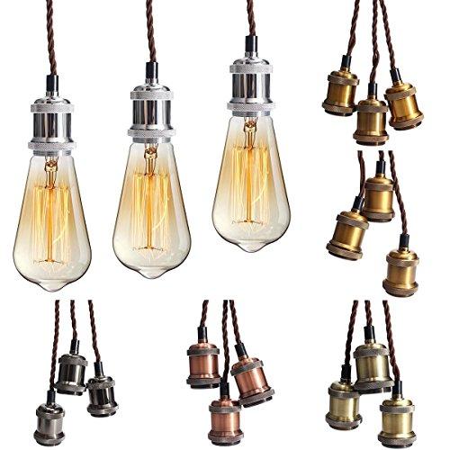 KINGSO E27 Lampenfassung mit drei Fassungen Edison Pendelleuchte Hängelampe Halter DIY Lampe Zubehör im Vintage-Stil mit braunemTextilkabel & Baldachin