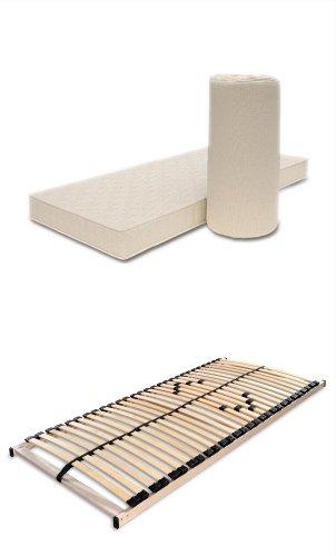 Matratzen-Lattenrost-Set 100x200 Poly + Max1 Atmungsaktive Komfortschaummatratze + Rost