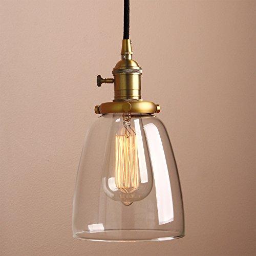 Pathson Antike Pendelleuchte Industrie Loft-Pendelleuchte Klar Glas Pendelleuchte Hängeleuchte Vintage Hängelampen