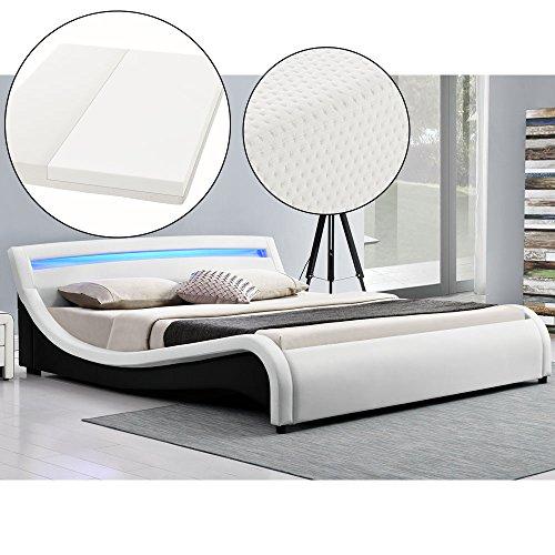 Polsterbett Malaga 140 x 200 cm LED Kopfteil - weiß mit Kaltschaummatratze | ArtLife