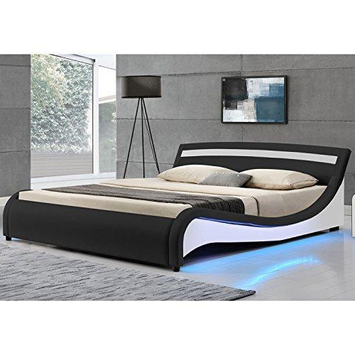ArtLife Polsterbett Malaga 140 x 200 cm mit LED Seitenteilen - Schwarz