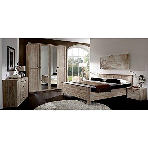 Schlafzimmer komplett Set Eiche sägerau Bett Kleiderschrank Nachtschrank Kommode