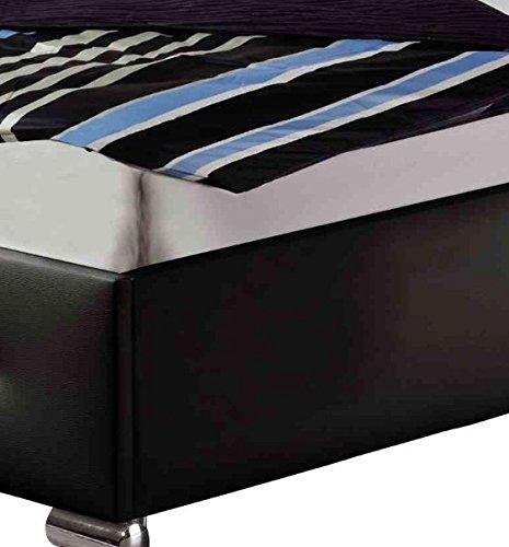 Maintal Polsterbett Jona, 100 x 200 cm, Kunstleder, Bettgestell ohne Matratze, schwarz