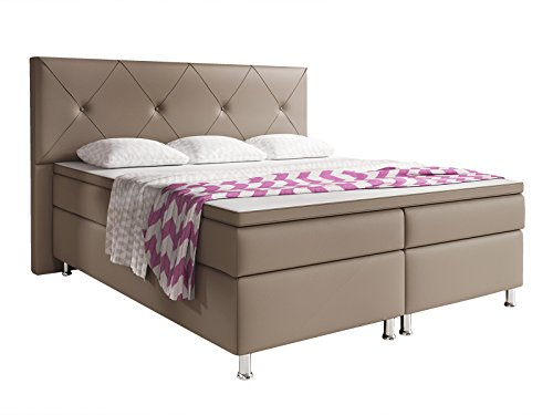 Inter Oxford Boxspringbett, Lederimitat, Muddy, 200 x 180 x 125 cm