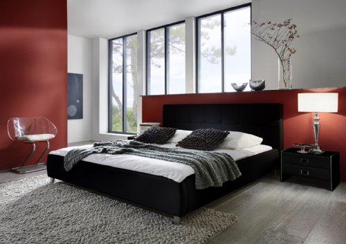 SAM Polsterbett 120x200 cm Zarah in schwarz, pflegeleichtes Design-Bett mit Kunstlederbezug, abgestepptes Kopfteil