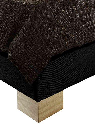 Maintal Polsterbett New York, 180 x 200 cm, Strukturstoff, Bettgestell ohne Matratze, schwarz