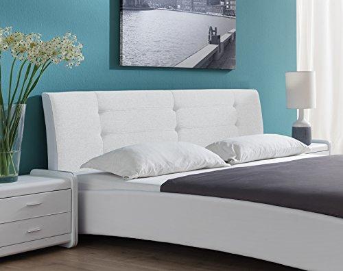 SAM Design Polsterbett 180x200 cm Bastia, in weiß, pflegeleichtes Bett aus Kunstleder, abgestepptes Kopfteil