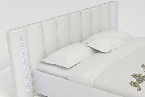 SAM ® Polsterbett Reno 180 x 200 cm Weiß Bett mit extra breitem Kopfteil und LED Leisten mit Farbwechsel