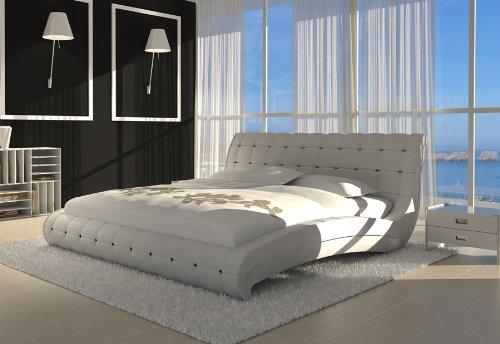 SAM® Design Polsterbett Bett Vederi in weiß 140 x 200 cm Kopfteil im abgesteppten Design Ziersteine als Wasserbett geeignet