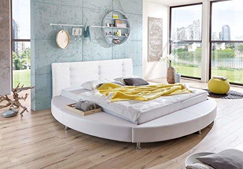 SAM® Design Rundbett Bastia, Bett in weiß, Kopfteil abgesteppt, mit Chromfüßen, auch als Wasserbett verwendbar, 180 x 200 cm