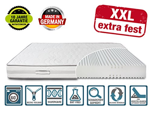 DIREKT VOM HERSTELLER - MADE IN GERMANY Matratze XXL Härtegrad 4 (H4) bis 150kg 90x200 Höhe 23cm | mit SilverCare Borderbezug | Klimaband für beste Belüftung | extra hart | hochwertig