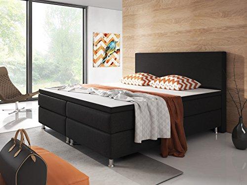 Inter Berlin Boxspringbett, Holz, schwarz, Double, 200 x 180 x 115 cm