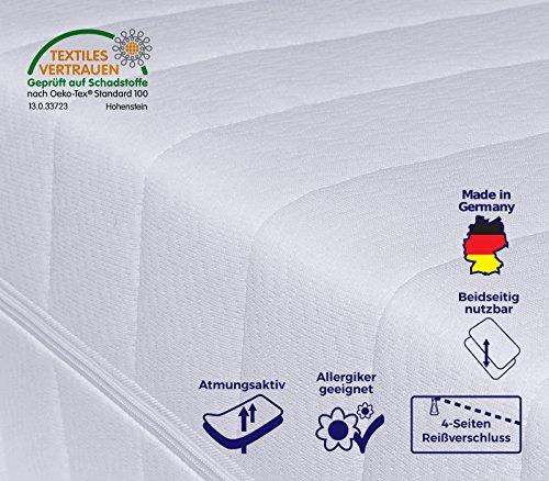 7-Zonen Matratze, Härtegrad H2 H3 (Weiß), Kaltschaummatratze, Rollmatratze, Doppeltuchbezug waschbar, 4-Seiten-Reißverschluss, Öko-Tex Standard 100 (90 x 200 cm)