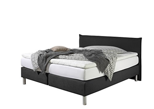 Maintal Boxspringbett Point, 100 x 200 cm, Stoff, 7-Zonen-Kaltschaum Matratze h3, Schwarz