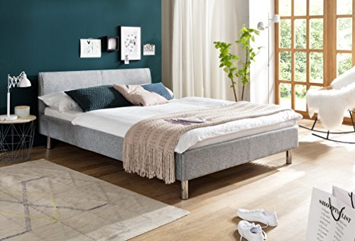 sette notti  Polsterbett Bett 140x200 hellgrau, Stoff-Bett mit Liegefläche 140 x 200 cm, Hip Hop Art Nr. 398-10-30000