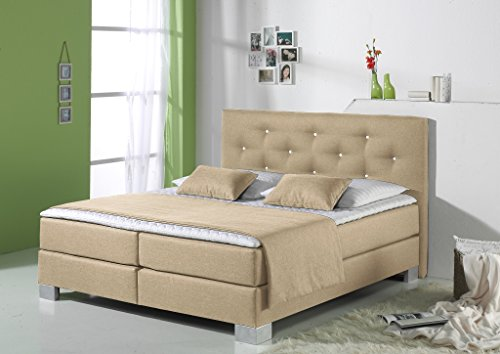 Maintal Boxspringbett Kingston, 180 x 200 cm, Stoff, Bonellfederkern Matratze h2, Beige