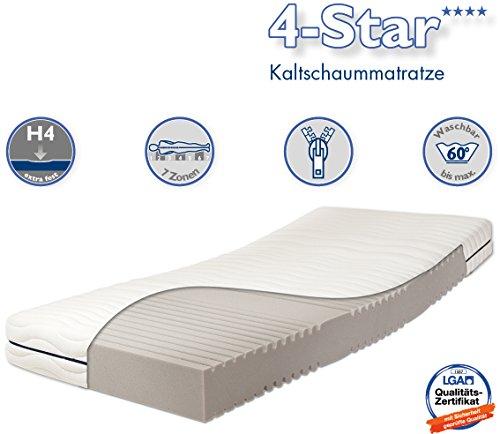 Traumnacht 4-Star - Orthopädische 7-Zonen Kaltschaummatratze Härtegrad 4 (H4), 140 x 200 cm, weiß