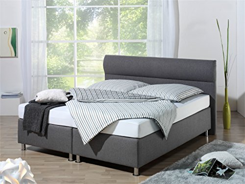 Maintal Boxspringbett Filipo, 180 x 200 cm, Stoff, 7-Zonen-Kaltschaum Matratze h3, Anthrazit