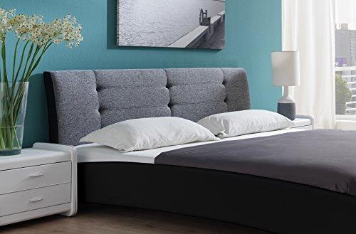 SAM Design Polsterbett 180x200 cm Bastia, in schwarz/grau, Kopfteil abgesteppt, auch als Wasserbett verwendbar