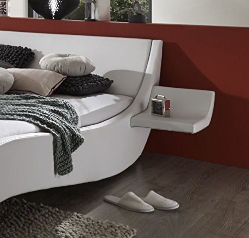 SAM Polsterbett 180x200 cm Macao, Bett aus Kunstleder, weiß, geschwungenes Kopf- und Seitenteil, inkl. zwei Nachttischablagen