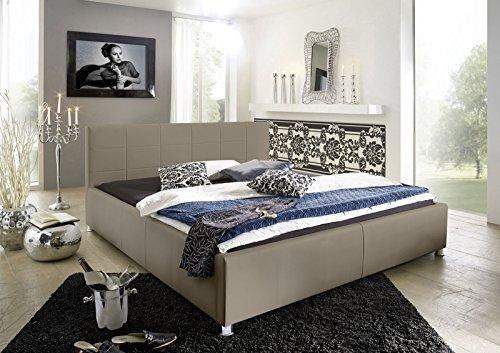 SAM Polsterbett 100x200 cm Katja, muddy, Kunstleder, abgestepptes Kopfteil, stilvolle Chromfüße, als Wasserbett geeignet