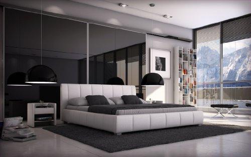 SAM Polsterbett Innocent 80x220 cm Designbett Latina 1 in weiß, Kopfteil im abgesteppten Design, Wasserbett geeignet