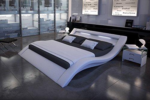 SAM LED-Polsterbett 160x200 cm Look, weiß, Bett aus Kunstleder, LED - Beleuchtung im Kopfteil, geschwungene Optik, als Wasserbett geeignet