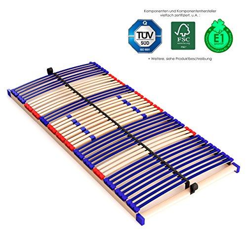 stabiler Lattenrahmen 100% BUCHE - nicht verstellbar, starr - SCHULTERFRÄSUNG, 7 Zonen, 42 Federleisten, Härte-Regulierung, Mittelgurt, SCHLUMMERPARADIES - SLEEP BEST 42 FIX unmontiert ( 90x200 cm )
