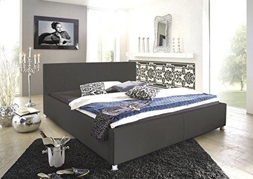 SAM Polsterbett 100x200 cm Katja, grau, Kunstleder, abgestepptes Kopfteil, stilvolle Chromfüße, als Wasserbett geeignet
