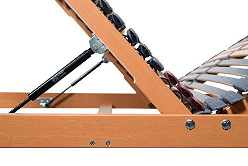 7 Zonen Lattenrost Rhodos KF 90x200 cm, 44 Leisten mit BETTKASTENFUNKTION mit Gasdruckfedern. LGA geprüfte Qualität SPITZENQUALITÄT AUS DEUTSCHLAND