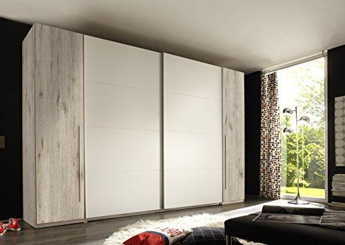 Stella Trading Match 4-türiger Kleiderschrank, Holz, sandeiche/weiß, 61 x 315 x 225 cm