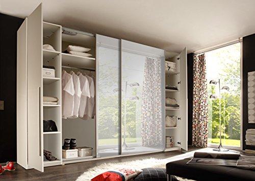 Stella Trading Match 4-türiger Kleiderschrank, Holz, weiß/spiegel, 61 x 312 x 225 cm