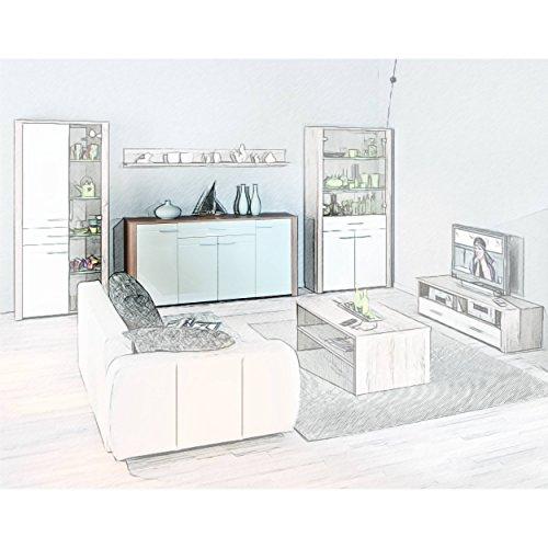 H24living Anrichte Kommode Diele Wohnzimmer 4-türig Schublade Sonoma Eiche weiß hochglanz