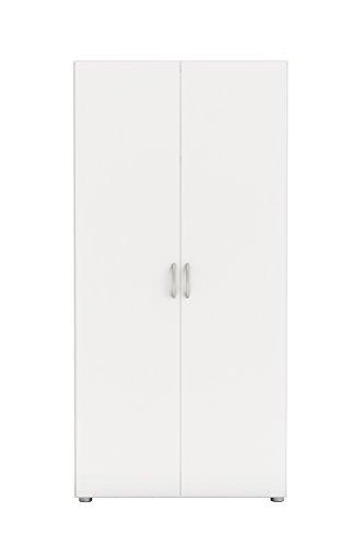 demeyere Zip2 Schrank 2-Türig, Kleiderstange, Hutablage, Spanplatte, Perle Weiß, 80.4 x 51.5 x 166.6 cm
