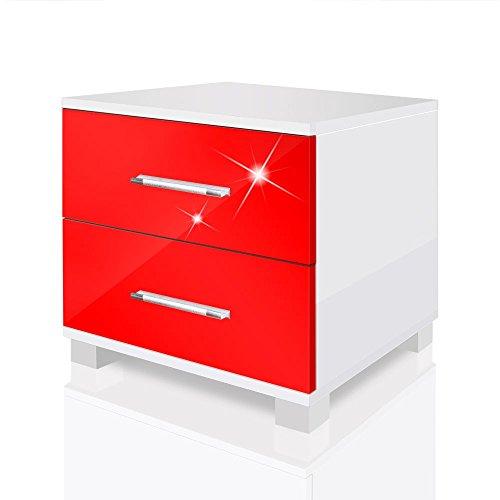 Nachtkonsole Nachtkommode Nachttisch Nachtschrank Mexx in Hochglanz oder Matt mit Griffen, Farbe:Weiss. Rot Hochglanz