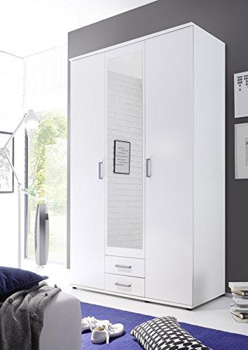 Stella Trading Karl 3-türiger Kleiderschrank, Holz, weiß, 55 x 120 x 195 cm