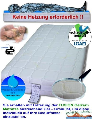 """Gelmatratze Gelbett """"Fusion"""" Höhe 22 cm, 5 cm Gel KEINE Heizung benötigt Ersatz für Wasserbett Matratze günstig (90x200 cm)"""