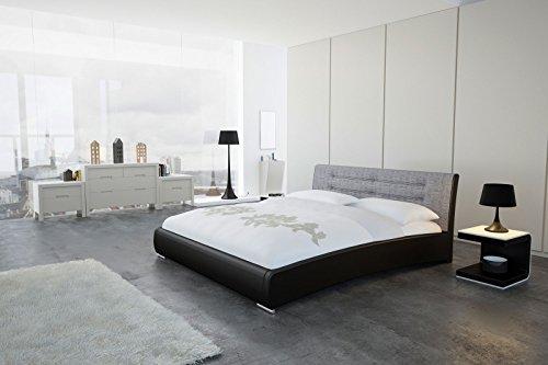 SAM Design Polsterbett 160x200 cm Bastia in schwarz/grau, Kopfteil abgesteppt, auch als Wasserbett verwendbar