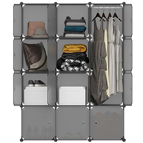 LANGRIA Regalsystem Kleiderschrank 12 Kubus Garderobenschrank für Aufbewahrung Kleidung, Schuhe, Spielzeug und Bücher (Grau)