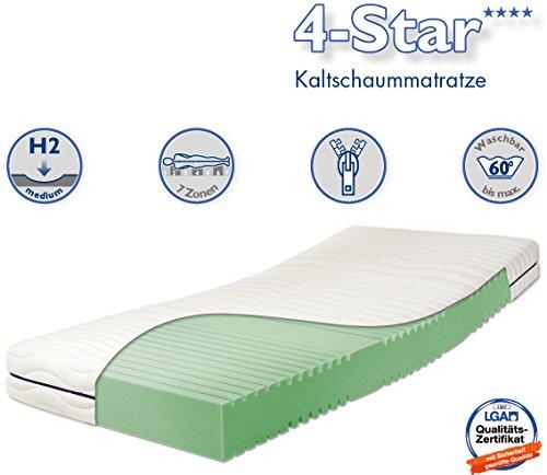 Traumnacht 4-Star - Orthopädische 7-Zonen Kaltschaummatratze Härtegrad 2 (H2), 90 x 190 cm, weiß