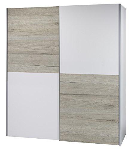 Stella Trading Victor 2-Türiger Kleiderschrank, Holz, Weiß / Schachbrett Eiche San Remo Hell, Breite ca. 170 cm