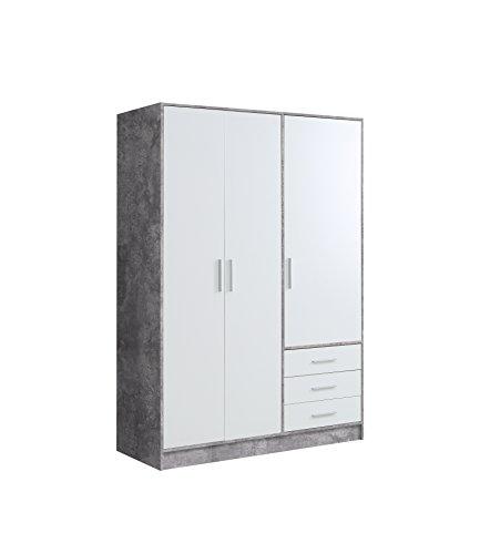 NEWFACE Jupiter Kleiderschrank 3-türig, 3 Schubkästen, Holz, beton + weiß, 144.6 x 60 x 200 cm