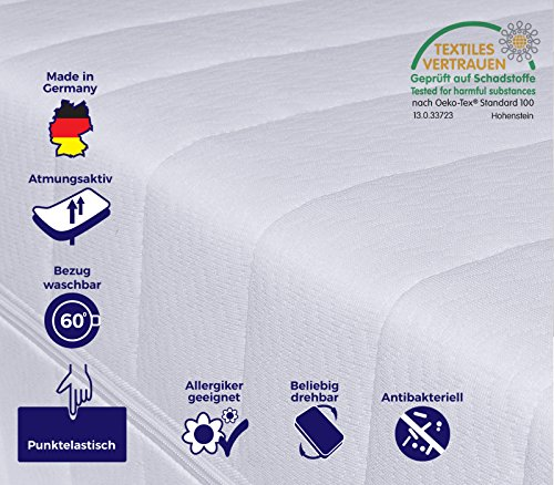 Orthopädische 7-Zonen Kaltschaummatratze, Härtegrad H2 H3, Bezug waschbar, Öko-Tex zertifiziert, Rollmatratze, 120 x 200 cm